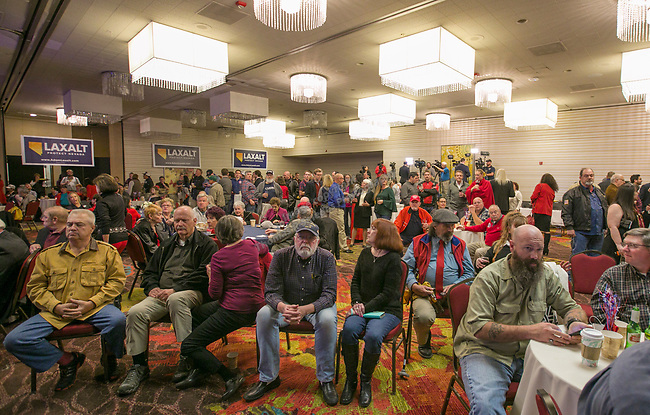 Adam Laxalt supporters before election results are in at the Grand Sierra Resort in Reno, Nev., Tuesday, Nov. 6, 2018. (AP Photo/Tom R. Smedes)