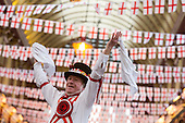 London, UK. 22 April 2016. Bob Hayward from the Ewell St. Mary's Morris Men performs Morris Dancing at the annual St. George's Day celebrations at Leadenhall Market in the City of London.