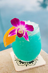 The classic Blue Hawaiian made with all fresh fruit juice served at the Andaz hotel in Wailea, Maui, Hawaii