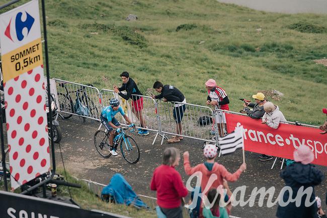race leader Nairo Quintana (COL/Movistar) in the last 500 meters  up the brutal Col du Portet (HC/2250m/16km at 8.7%/Souvenir Henri Desgrange) in this historically short stage (only 65km)<br /> <br /> Stage 17: Bagnères-de-Luchon > Saint-Lary-Soulan (65km)<br /> <br /> 105th Tour de France 2018<br /> ©kramon