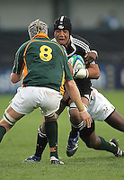 New Zealand number Liukanasi Manu drives play forward during the U19 Championship final against South Africa at Ravenhill, Belfast.