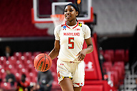College Park, MD - March 23, 2019: Maryland Terrapins guard Kaila Charles (5) watches as the time ticks down of first round action game between Radford and Maryland at Xfinity Center in College Park, MD. Maryland defeated Radford 73-51. (Photo by Phil Peters/Media Images International)
