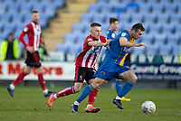 Lincoln City's Joe Morrell battles with Shrewsbury Town's Shaun Whalley<br /> <br /> Photographer Andrew Vaughan/CameraSport<br /> <br /> The EFL Sky Bet League One - Shrewsbury Town v Lincoln City - Saturday 11th January 2020 - New Meadow - Shrewsbury<br /> <br /> World Copyright © 2020 CameraSport. All rights reserved. 43 Linden Ave. Countesthorpe. Leicester. England. LE8 5PG - Tel: +44 (0) 116 277 4147 - admin@camerasport.com - www.camerasport.com
