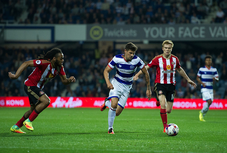 Queens Park Rangers' Paul Konchesky in action during todays match  <br /> <br /> Photographer Ashley Western/CameraSport<br /> <br /> The EFL Cup Third Round - Queens Park Rangers v Sunderland - Wednesday 21st September 2016 - Loftus Road - London<br />  <br /> World Copyright &copy; 2016 CameraSport. All rights reserved. 43 Linden Ave. Countesthorpe. Leicester. England. LE8 5PG - Tel: +44 (0) 116 277 4147 - admin@camerasport.com - www.camerasport.com