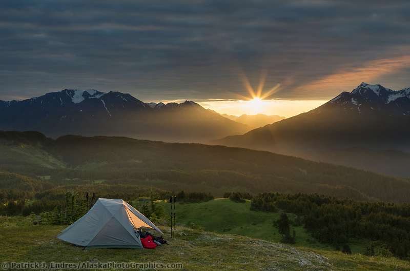 Tent camp near the Lost Lake Trail, Chugach National Forest, Seward, Alaska.
