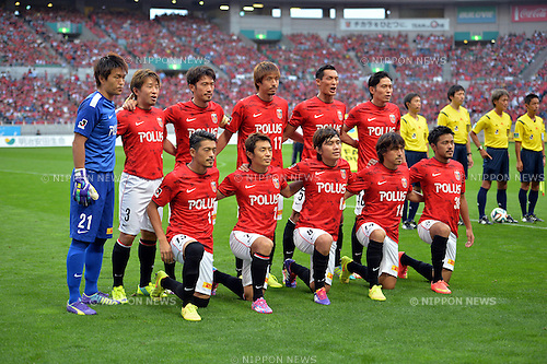 Urawa Reds team group line-up,<br /> AUGUST 16, 2014 - Football / Soccer :<br /> Urawa Reds team group shot (Top row - L to R) Shusaku Nishikawa, Tomoya Ugajin, Yuki Abe, Mitsuru Nagata, Tomoaki Makino, Ryota Moriwaki, (Bottom row - L to R) Keita Suzuki, Tsukasa Umesaki, Yosuke Kashiwagi, Tadaaki Hirakawa and Shinzo Koroki before the 2014 J.League Division 1 match between Urawa Red Diamonds 1-0 Sanfrecce Hiroshima at Saitama Stadium 2002 in Saitama, Japan. (Photo by AFLO)