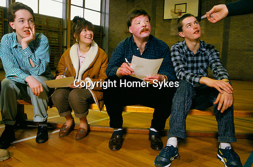 Welsh Falklands veteran Simon Weston with youth group in gymnasium. Founder of The Weston Spirit, charity dedicated to helping disadvantaged young people. ..
