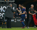 Henrikh Mkhitaryan of Manchester United is welcomed off by Jose Mourinho manager of Manchester United during the UEFA Europa League Final match at the Friends Arena, Stockholm. Picture date: May 24th, 2017.Picture credit should read: Matt McNulty/Sportimage