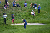 Justin Rose (Team Europe) chips on to 9 during Friday's foursomes of the 2018 Ryder Cup, Le Golf National, Guyancourt, France. 9/28/2018.<br /> Picture: Golffile | Ken Murray<br /> <br /> <br /> All photo usage must carry mandatory copyright credit (&copy; Golffile | Ken Murray)