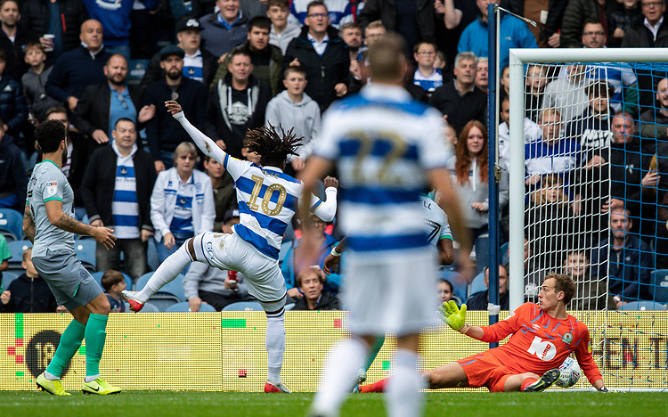 Blackburn Rovers' Christian Walton (right) is beaten by a shot from Queens Park Rangers' Eberechi Eze (2nd left) to score his side's second goal <br /> <br /> Photographer Andrew Kearns/CameraSport<br /> <br /> The EFL Sky Bet Championship - Queens Park Rangers v Blackburn Rovers - Saturday 5th October 2019 - Loftus Road - London<br /> <br /> World Copyright © 2019 CameraSport. All rights reserved. 43 Linden Ave. Countesthorpe. Leicester. England. LE8 5PG - Tel: +44 (0) 116 277 4147 - admin@camerasport.com - www.camerasport.com