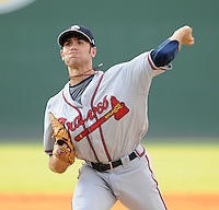 Starting pitcher Sean Gilmartin (2) of the Rome Braves, Class A affiliate of the Atlanta Braves, in a game against the Greenville Drive on August 16, 2011, at Fluor Field at the West End in Greenville, South Carolina. Gilmartin was Atlanta's first-round pick (No. 28 overall) in the 2011 First-Year Player Draft out of Florida State. Making his second start of the season, he pitched four scoreless innings, giving up one hit and striking out four. (Tom Priddy/Four Seam Images)