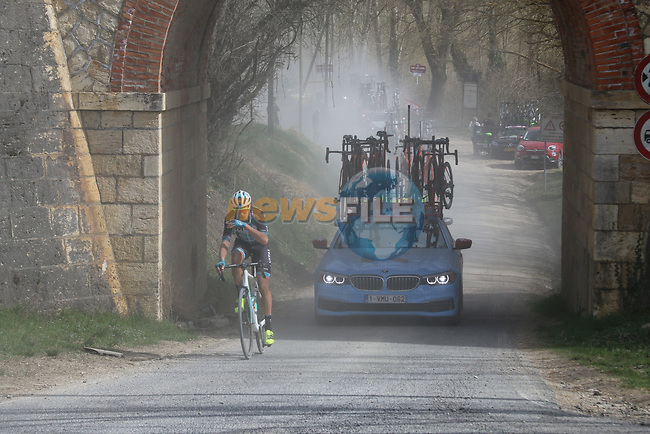 Justin Mottier (FRA) Vital Concept-Hotels B&B on sector 5 Lucignano d'Asso during Strade Bianche 2019 running 184km from Siena to Siena, held over the white gravel roads of Tuscany, Italy. 9th March 2019.<br /> Picture: Seamus Yore | Cyclefile<br /> <br /> <br /> All photos usage must carry mandatory copyright credit (© Cyclefile | Seamus Yore)