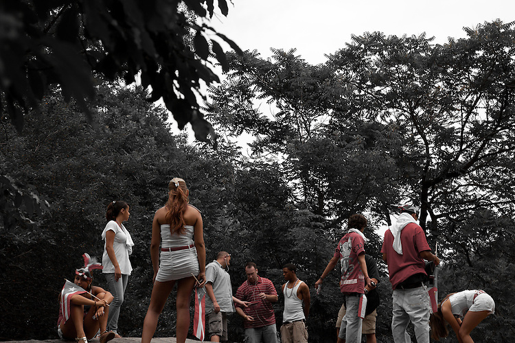 NEW YORK - JUNE 13:  Multiple Teenager arrests by NYC police during the Puerto Rican Day Parade in Central Park June 13, 2010 in New York City.  (Photo by Donald Bowers)