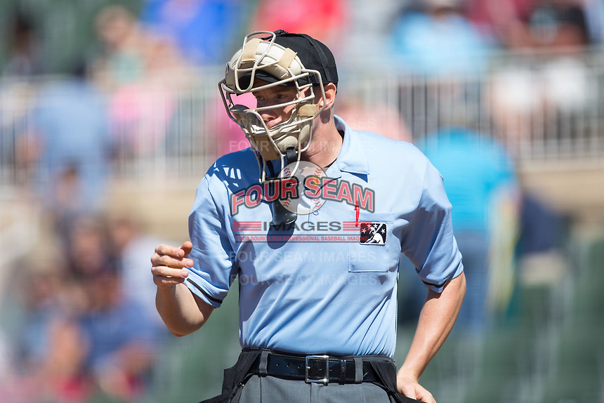 Home plate umpire Mike Snover during the South Atlantic League game between the Asheville Tourists and the Kannapolis Intimidators at Kannapolis Intimidators Stadium on May 7, 2017 in Kannapolis, North Carolina.  The Tourists defeated the Intimidators 4-1.  (Brian Westerholt/Four Seam Images)