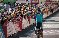 stage winner Omar Fraile (ESP/Astana)<br /> <br /> Stage 14: Saint-Paul-Trois-Ch&acirc;teaux &gt; Mende (187km)<br /> <br /> 105th Tour de France 2018<br /> &copy;kramon