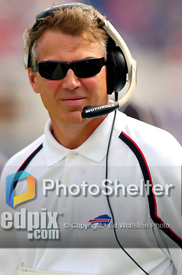25 September 2005: Tom Clements, Offensive Coordinator for the Buffalo Bills, watches from the sidelines during a game against the Atlanta Falcons.  The Falcons defeated the Bills 24-16 at Ralph Wilson Stadium in Orchard Park, NY.<br />