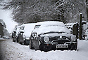 21/01/15<br /> <br /> Snow-covered cars in Monyash, Derbyshire.<br /> <br /> More than 20 schools in Derbyshire were closed today following overnight snowfall that continued into the morning across the Peak District.<br /> <br /> All Rights Reserved - F Stop Press.  www.fstoppress.com. Tel: +44 (0)1335 300098