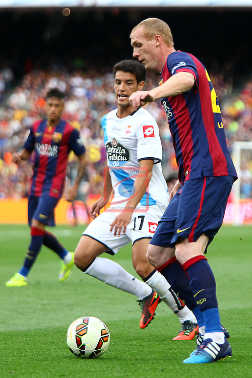 League BBVA 2014/2015. Game: 38.<br /> FC Barcelona vs Deportivo: 2-2.<br /> Salomao vs Jeremy Mathieu.
