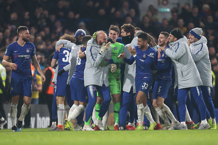 Chelsea celebrate at the end of the game<br /> <br /> Photographer Rob Newell/CameraSport<br /> <br /> The Carabao Cup Semi-Final Second Leg - Chelsea v Tottenham Hotspur - Thursday 24th January 2019 - Stamford Bridge - London<br />  <br /> World Copyright © 2018 CameraSport. All rights reserved. 43 Linden Ave. Countesthorpe. Leicester. England. LE8 5PG - Tel: +44 (0) 116 277 4147 - admin@camerasport.com - www.camerasport.com