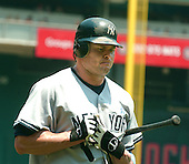 Washington, D.C. - June 18, 2006 -- New York Yankees first baseman Jason Giambi (25) is unhappy after striking out swinging in the first inning against the Washington Nationals at RFK Stadium in Washington, D.C. on June 18, 2006.<br /> Credit: Ron Sachs / CNP
