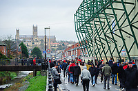 Lincoln City fans arrive at the ground prior to the game<br /> <br /> Photographer Chris Vaughan/CameraSport<br /> <br /> The Emirates FA Cup Second Round - Lincoln City v Carlisle United - Saturday 1st December 2018 - Sincil Bank - Lincoln<br />  <br /> World Copyright © 2018 CameraSport. All rights reserved. 43 Linden Ave. Countesthorpe. Leicester. England. LE8 5PG - Tel: +44 (0) 116 277 4147 - admin@camerasport.com - www.camerasport.com