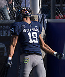 Nevada receiver Wyatt Demps reacts after making a touchdown catch against San Jose State in the first half of an NCAA college football game in Reno, Nev. Saturday, Nov. 11, 2017. (AP Photo/Tom R. Smedes