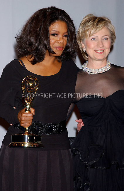 WWW.ACEPIXS.COM . . . . . ....NEW YORK, NOVEMBER 21, 2005....Oprah Winfrey and Senator Hillary Clinton at the 2005 International Emmy Awards Gala Press Room.....Please byline: KRISTIN CALLAHAN - ACE PICTURES.. . . . . . ..Ace Pictures, Inc:  ..Philip Vaughan (212) 243-8787 or (646) 679 0430..e-mail: info@acepixs.com..web: http://www.acepixs.com