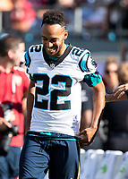 CHARLOTTE, NC - JULY 20: Pierre-Emerick Aubameyang #14 tries on a Carolina Panthers Jersey during a game between ACF Fiorentina and Arsenal at Bank of America Stadium on July 20, 2019 in Charlotte, North Carolina.
