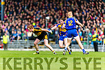 Johnny Buckley Dr Crokes in action against Tadhg Morley Kenmare District in the Senior County Football Championship final at Fitzgerald Stadium on Sunday.
