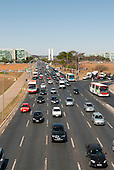 Brasilia, Brazil. Traffic, Eixo Central, Ministries, Congress buildings,