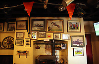 Pictured: Pictures of Tobefair on the wall of Cresselly Arms pub in Cresswell Quay, Pembrokeshire, Wales, UK. Thursday 16 March 2017<br /> Re: A racehorse owned by a syndicate from Pembrokeshire which was a favourite to win at this year's Cheltenham Festival, has lost.<br /> Tobefair, a seven-year-old gelding, has won his last seven races.<br /> He was gifted as a colt to Michael Cole three years ago, in return for looking after two fillies on his farm.<br /> Unable to afford the training costs on his own, he decided to offer 50% of the ownership to people he knew through his local pub, the Cresselly Arms at Cresswell Quay Quay.<br /> The syndicate grew to 17 members but none except Mr Cole had owned a racehorse before.<br /> They said they were amazed when Tobefair started winning races and never dreamed he would make it to Cheltenham.
