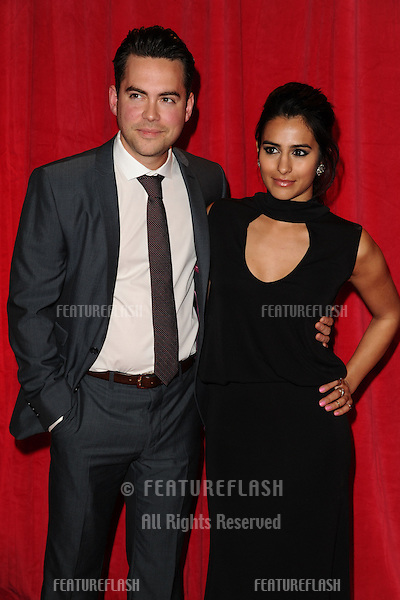 Sair Khan and Bruno Langley arriving for the 2014 British Soap Awards, at the Hackney Empire, London. 24/05/2014 Picture by: Steve Vas / Featureflash