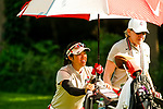 STILLWATER, OK - MAY 21: Jaclyn Lee of Ohio State walks the fairway with her coach Therese Hession during the Division I Women's Golf Individual Championship held at the Karsten Creek Golf Club on May 21, 2018 in Stillwater, Oklahoma. (Photo by Shane Bevel/NCAA Photos via Getty Images)