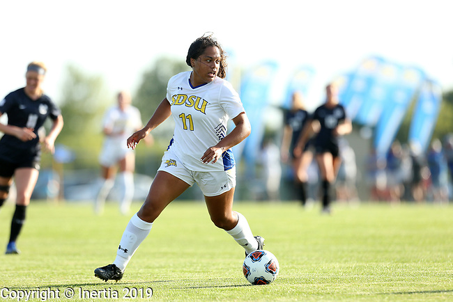 BROOKINGS, SD - AUGUST 23: Leah Manuleleua #11 from South Dakota State University controls the ball against Utah State during their match Friday evening at Fischback Soccer field in Brookings. (Photo by Dave Eggen/Inertia)