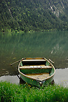 Rowing boat,Lake Haldensee, Nesslewangle, Reutte district. Austria.The Alps