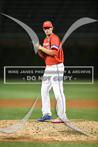 Cole Winn (22) of Silver Creek High School in Longmont, Colorado during the Under Armour All-American Game presented by Baseball Factory on July 29, 2017 at Wrigley Field in Chicago, Illinois.  (Mike Janes/Four Seam Images)