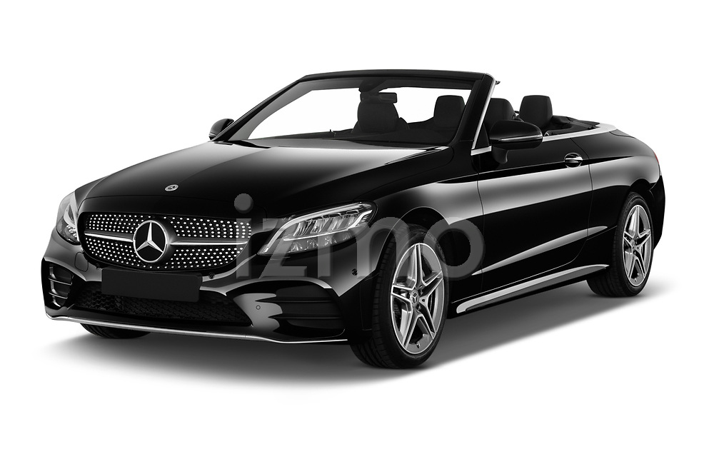 2019 Mercedes Benz C-Class AMG-Line 2 Door Convertible Angular Front stock photos of front three quarter view