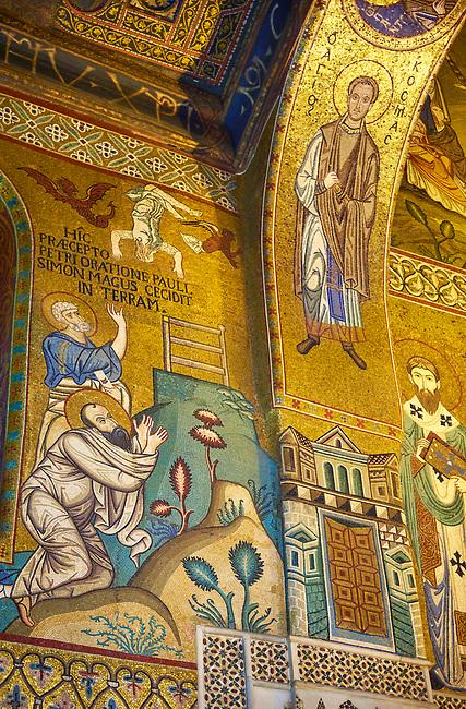 Medieval Byzantine style mosaics of St Peter & St Paul,  the Palatine Chapel, Cappella Palatina, Palermo, Italy