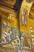 Medieval Byzantine style mosaics of St Peter & St Paul,  the Palatine Chapel, Cappella Palatina, Palermo, Italy