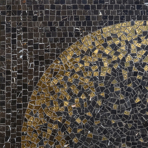 Soleil, a hand-cut mosaic shown in 24K Gold Glass and honed Saint Laurent, is part of the Aurora® collection by Sara Baldwin for New Ravenna.