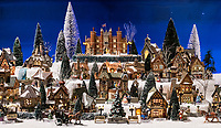 Miniture Christmas village display at Yankee Candle Company headquarters, deerfield, Massachusetts, USA.