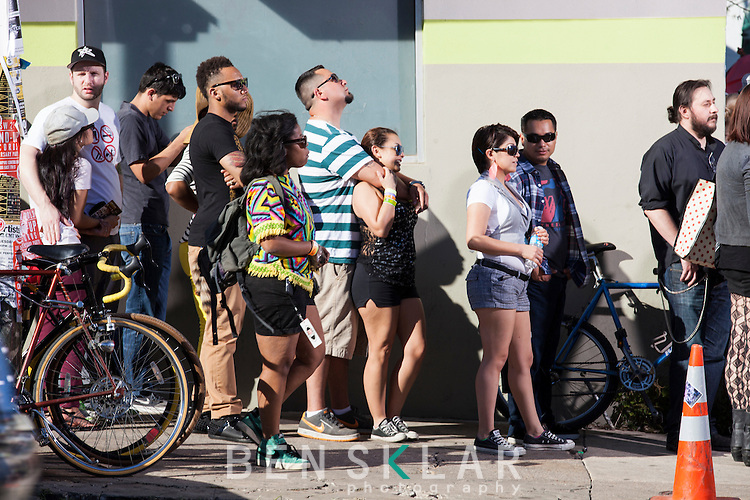 Music goers wait in the queue outside the Brooklyn Vegan party on Saturday.<br /> <br /> Style at SXSW music 2013.