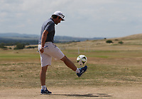 World Cup Fever. Caddie Cyril Miranda (FRA) on the practice ground during the ASI Scottish Open 2018, at Gullane, East Lothian, Scotland.  11/07/2018. Picture: David Lloyd | Golffile.<br /> <br /> Images must display mandatory copyright credit - (Copyright: David Lloyd | Golffile).