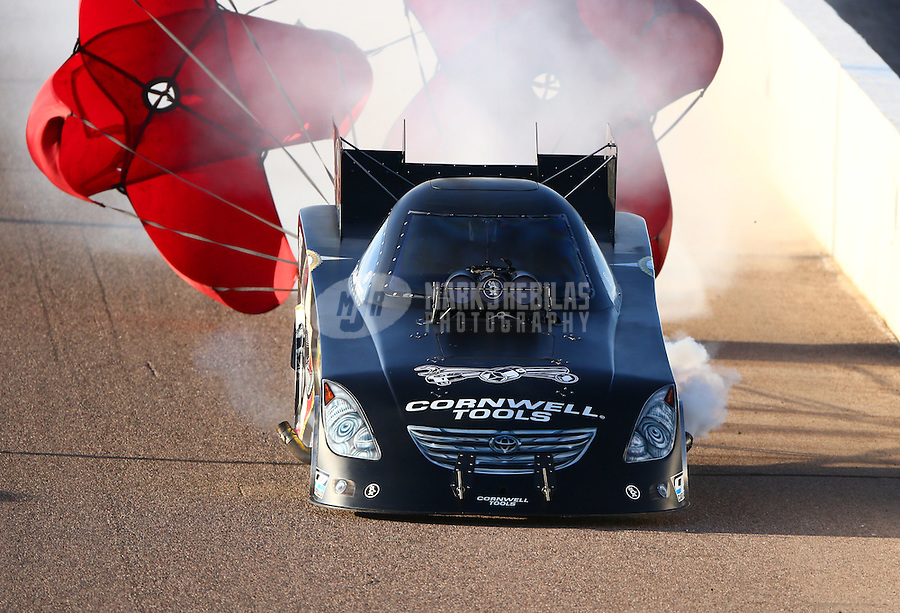 Feb 27, 2016; Chandler, AZ, USA; NHRA funny car driver Terry Haddock during qualifying for the Carquest Nationals at Wild Horse Pass Motorsports Park. Mandatory Credit: Mark J. Rebilas-