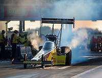 Oct 14, 2016; Ennis, TX, USA; NHRA top fuel driver Shawn Langdon during qualifying for the Fall Nationals at Texas Motorplex. Mandatory Credit: Mark J. Rebilas-USA TODAY Sports