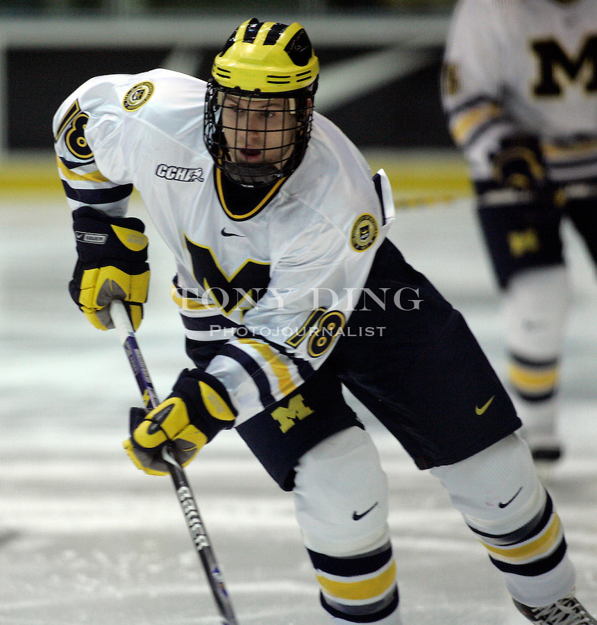 19 October 2006: Michigan forward Tim Miller (18) during Michigan's 6-3 win in their CCHA season opener against Miami (OH) at Yost Ice Arena in Ann Arbor, MI.