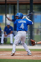 Toronto Blue Jays second baseman Hugo Cardona (4) at bat during a Florida Instructional League game against the Pittsburgh Pirates on September 20, 2018 at the Englebert Complex in Dunedin, Florida.  (Mike Janes/Four Seam Images)