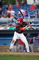 Batavia Muckdogs first baseman Ben Fisher (36) at bat during a game against the Lowell Spinners on July 11, 2017 at Dwyer Stadium in Batavia, New York.  Lowell defeated Batavia 5-2.  (Mike Janes/Four Seam Images)