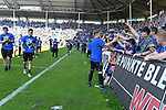 20.04.2019, Carl Benz Stadion, Mannheim, GER, RL Sued, SV Waldhof Mannheim vs. VfR Wormatia Worms, <br /> <br /> DFL REGULATIONS PROHIBIT ANY USE OF PHOTOGRAPHS AS IMAGE SEQUENCES AND/OR QUASI-VIDEO.<br /> <br /> im Bild: Marcel Seegert (SV Waldhof Mannheim #5) bei den Fans<br /> <br /> Foto © nordphoto / Fabisch
