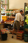 Man stocking produce section of country grocery store. Shelburne Falls, MA
